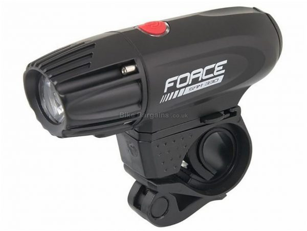 Force Sam-330 Rechargeable Front Bike Light 330 Lumens, Black, Front, Rechargeable, Alloy Body, 110g
