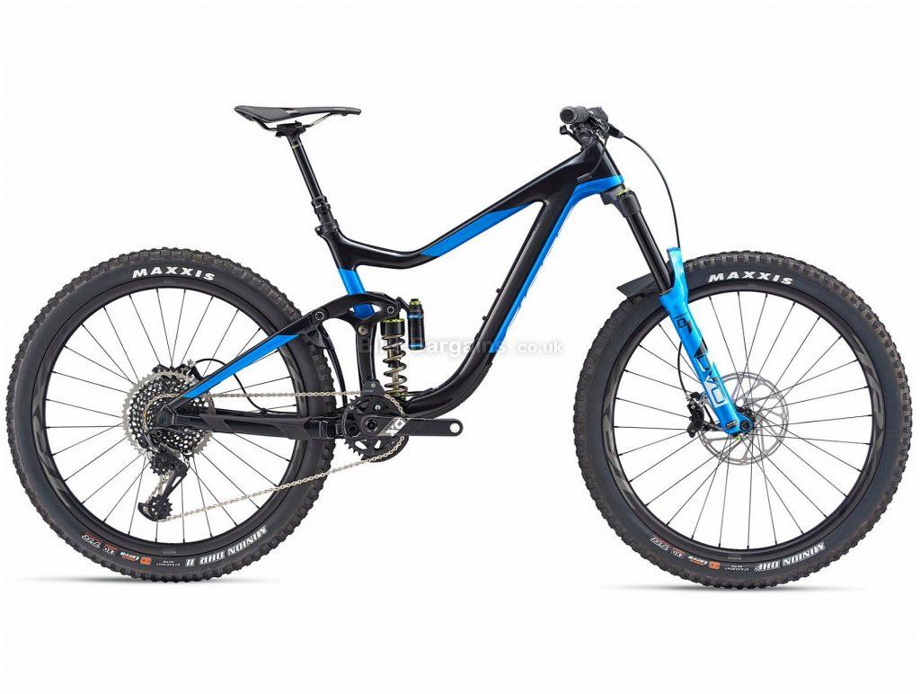 "Giant Reign Advanced 0 Carbon Full Suspension Mountain Bike 2019 S, Black, Blue, Carbon Frame, 12 Speed, 27.5"" Wheels, Disc Brakes"
