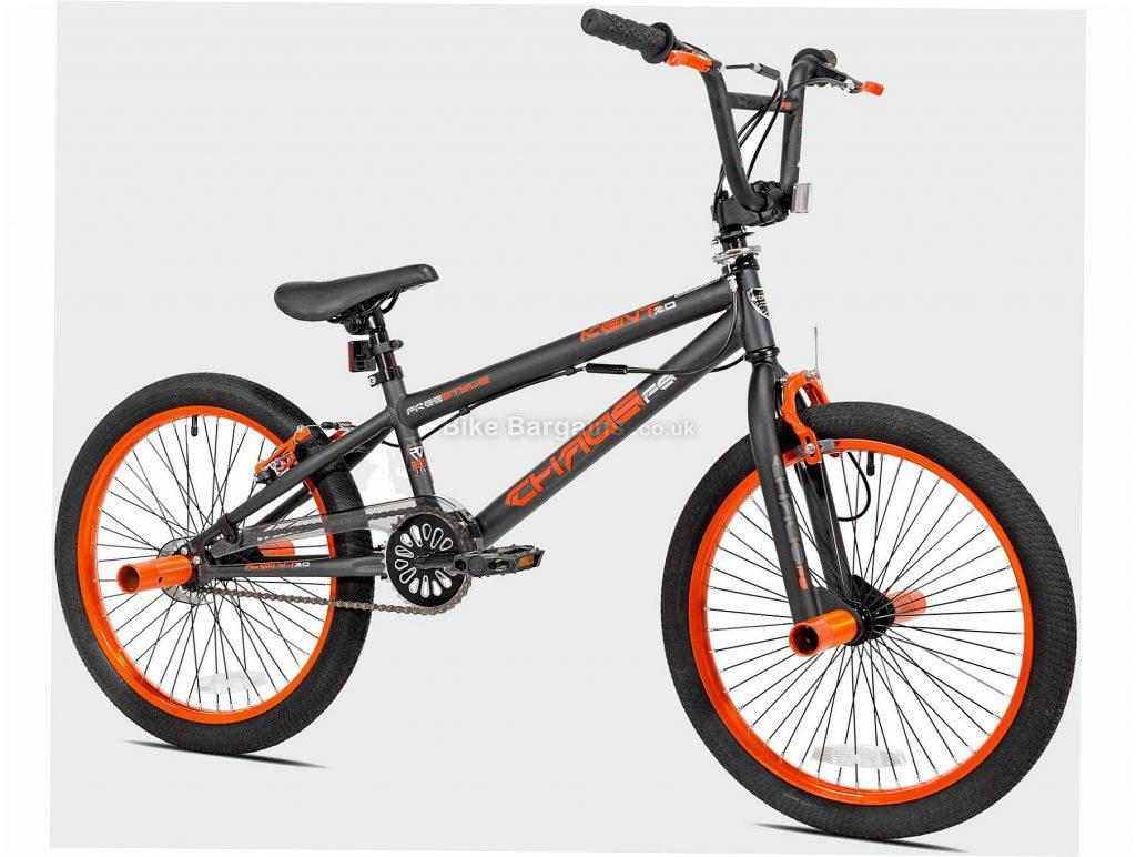 "Kent Chaos 20"" Kids BMX Bike One Size, Grey, Orange, Black, Single Speed, Steel Frame, 20"" wheels, Rigid, Hardtail, Caliper Brakes, Single Chainring"