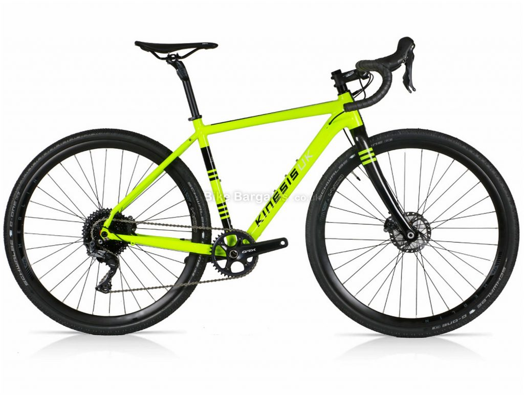 Kinesis Tripster AT GRX Alloy Gravel Bike 48cm, Yellow, Black, Alloy Frame, 11 Speed, 700c Wheels, Single Chainring, Disc Brakes