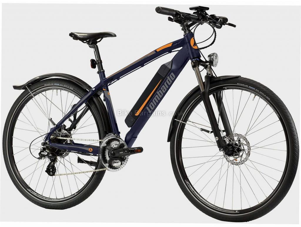"Lombardo Valderice Fit 20 Alloy Electric Bike One Size, Blue, Black, 21 Speed, Alloy Frame, Men's, Ladies, 29"" wheels, Hardtail, Suspension, Disc, Triple Chainring, 22.9kg"