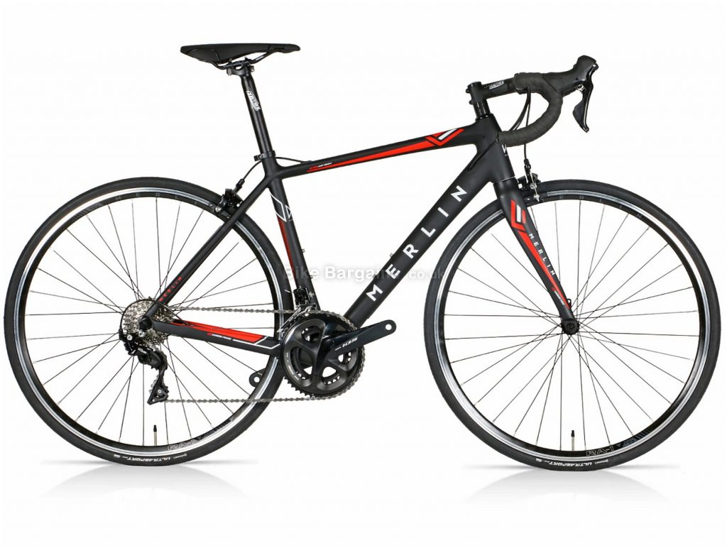 Merlin Cordite 105 Carbon Road Bike 2020 49cm,52cm,55cm, Black, Red, Carbon Frame, 22 Speed, 700c Wheels, Double Chainring, Caliper Brakes