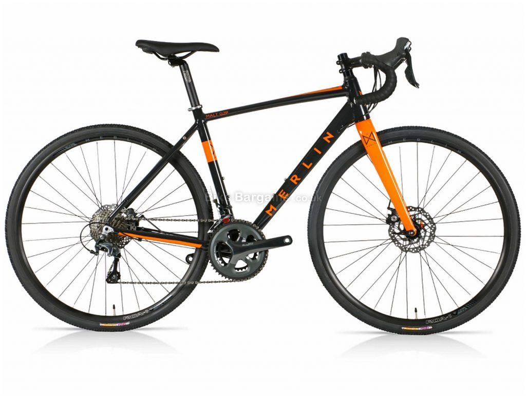 Merlin Malt G2P Tiagra Alloy Gravel Bike 2021 47cm, Black, Orange, Alloy Frame, 20 Speed, Disc Brakes, Double Chainring