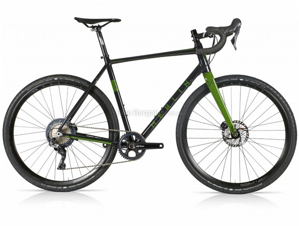 Merlin Malt G2X GRX 810 Alloy Gravel Bike 2021 56cm, 59cm, Black, Green, Alloy Frame, 11 Speed, Disc Brakes, Single Chainring