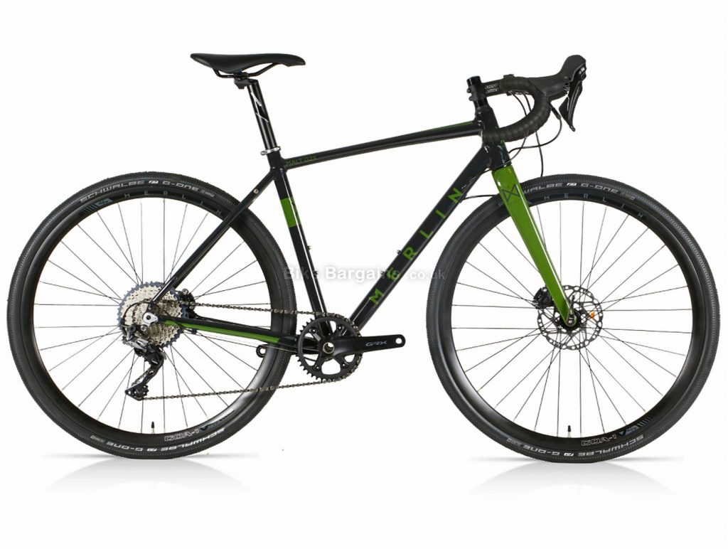 Merlin Malt G2X GRX Alloy Gravel Bike 2021 47cm, 50cm, Black, Green, Alloy Frame, 11 Speed, Disc Brakes, Single Chainring