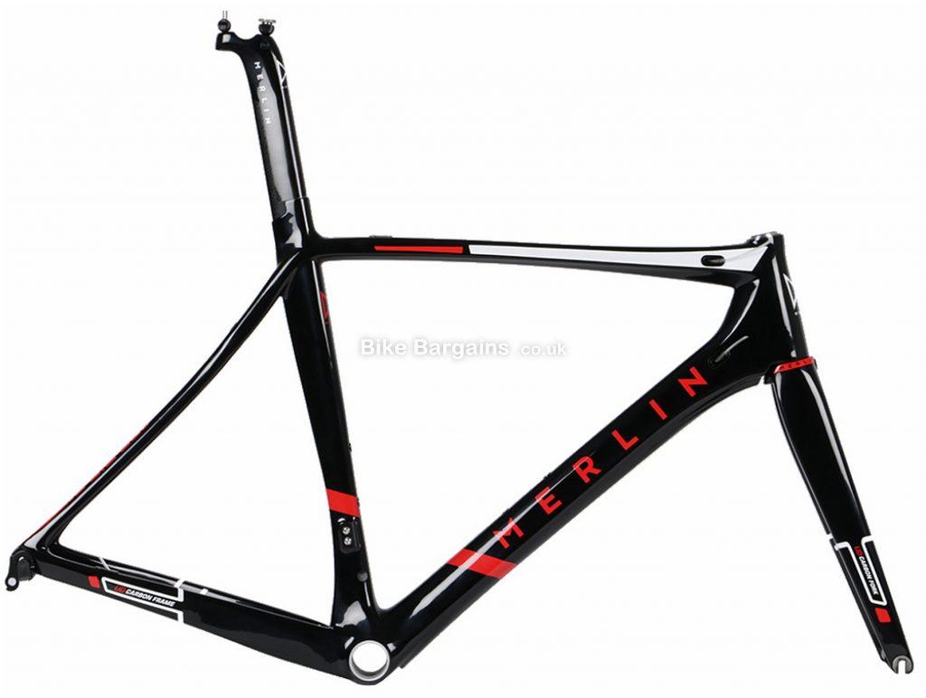Merlin Nitro Aero Carbon Road Frame 56cm, Black, Grey, Red, 1.485kg, Carbon Frame, 700c wheels, Caliper Brakes,
