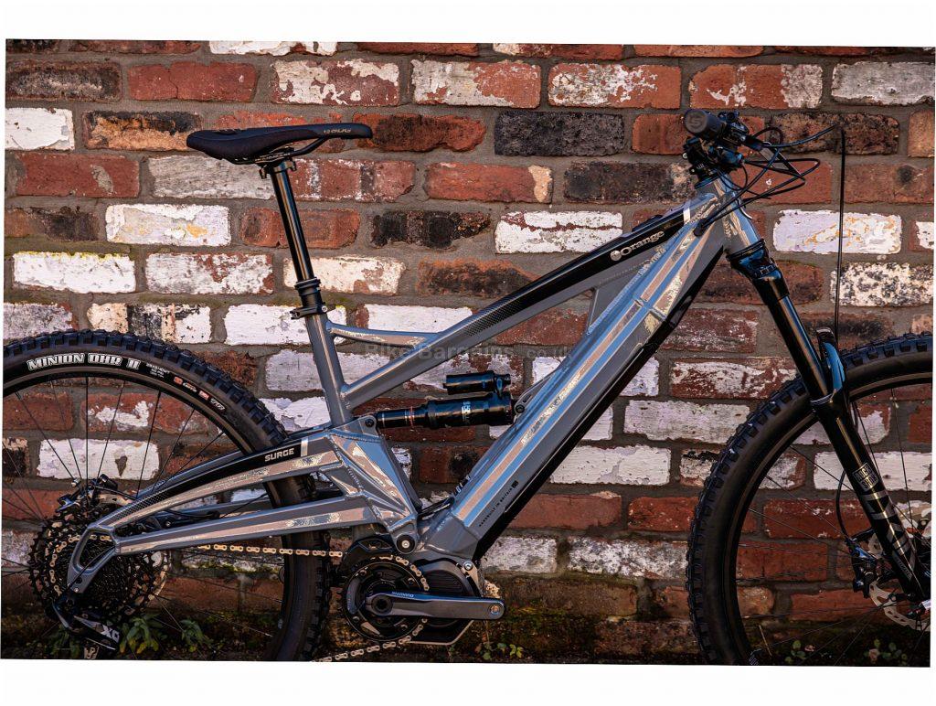 "Orange Surge 29 Rs Alloy Electric Full Suspension Mountain Bike 2020 L, Grey, Black, Blue, 12 Speed, Alloy Frame, Men's, 29"" wheels, Full Suspension, Disc, Single Chainring"