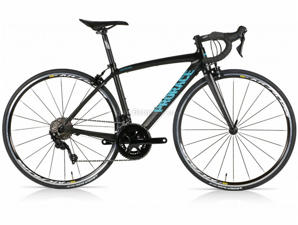 Prorace Nemesis 105 Mix Carbon Road Bike S, Black, Blue, 700c wheels, Caliper Brakes, 22 Speed, Double Chainring, Carbon Frame