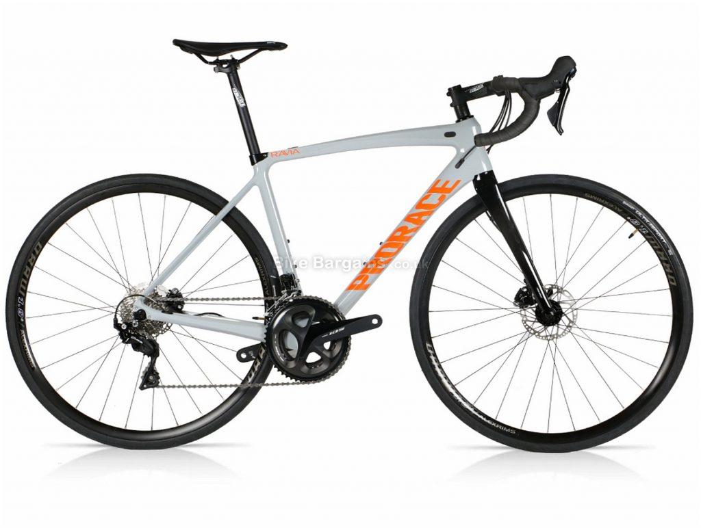 Prorace Ravia Carbon Disc 105 Road Bike S, Grey, Black, Orange, Carbon Frame, 22 Speed, 700c Wheels, Double Chainring, Disc Brakes