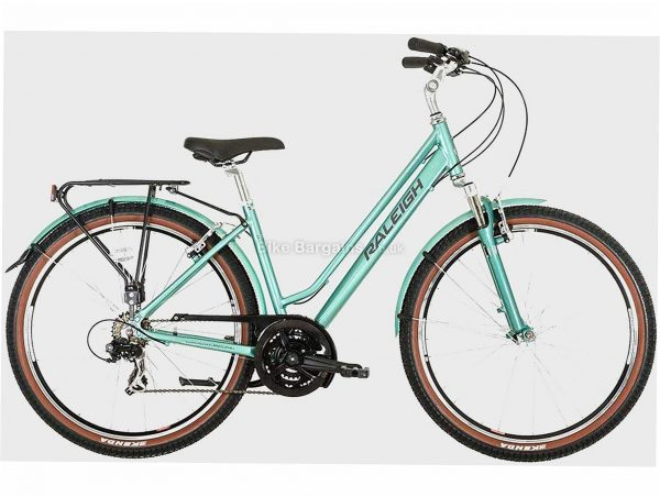 """Raleigh Pioneer Trail Low Step Alloy City Bike 15"""", Turquoise, 16.2kg, Alloy Frame, 21 Speed, 27.5"""" wheels, Triple Chainring, Caliper Brakes"""
