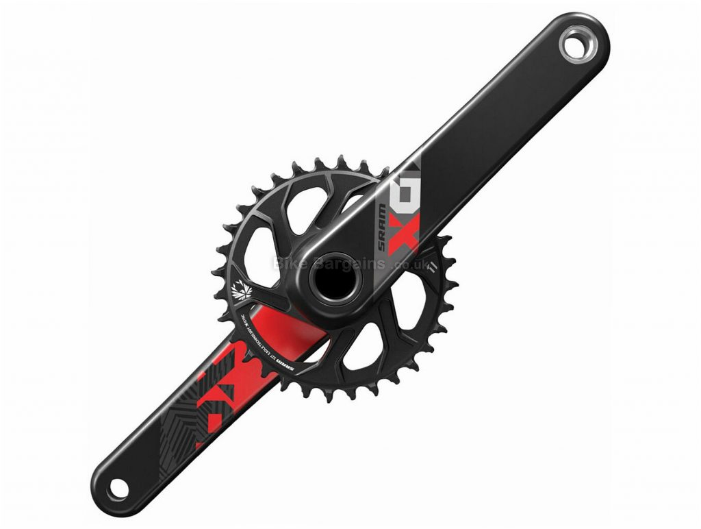 SRAM X01 Eagle Superboost+ Dub 12 Speed Chainset 175mm, 12 Speed, Black, Red, Single Chainring, Carbon