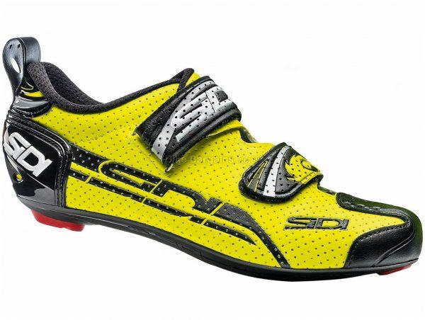 Sidi T-4 Air Carbon Triathlon Shoes 39, Yellow, Black, Men's, Velcro Fastening, 275g, Carbon, Velcro