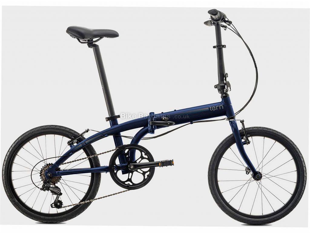 "Tern Link B7 Equipped Folding City Bike One Size, Blue, Black, Alloy Frame, 7 Speed, 20"" Wheels, Caliper Brakes, 12.1kg"
