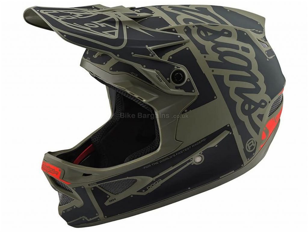 Troy Lee Designs D3 Full Face MTB Helmet 2019 XXL, Black, Green, 20 vents, 1.225kg, Carbon