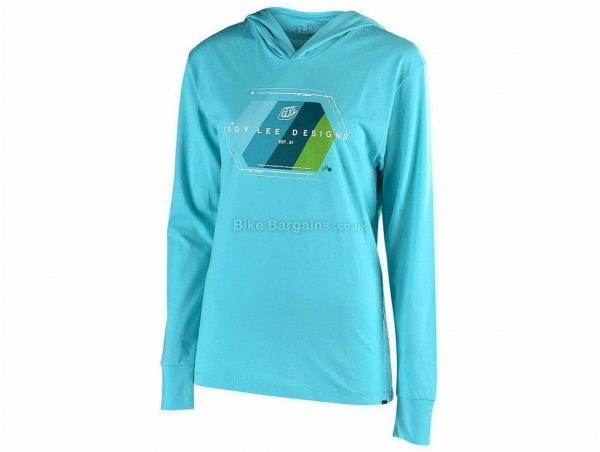 Troy Lee Designs Ladies Technical Fade Pullover Hoodie L, Blue, Grey, Ladies, Long Sleeve, Polyester, Cotton, Rayon