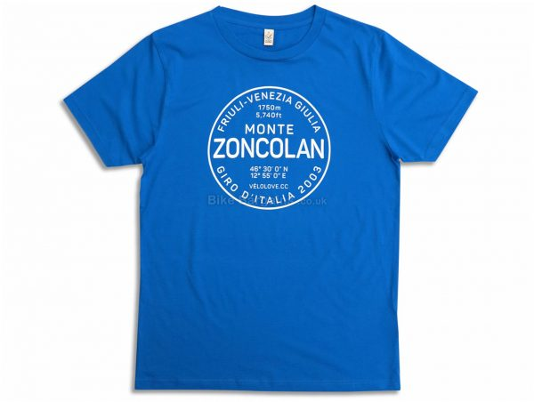 Velolove Monte Zoncolan Organic T-Shirt S, Blue, Men's, Short Sleeve, Cotton