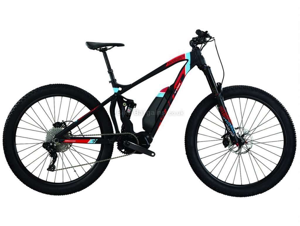 "Wilier E803 TRB Pro XT Alloy Full Suspension Electric Mountain Bike 2021 L, Black, Red, Blue, Alloy Full Suspension Frame, 11 Speed, 27.5"" wheels, Disc Brakes, Single Chainring"