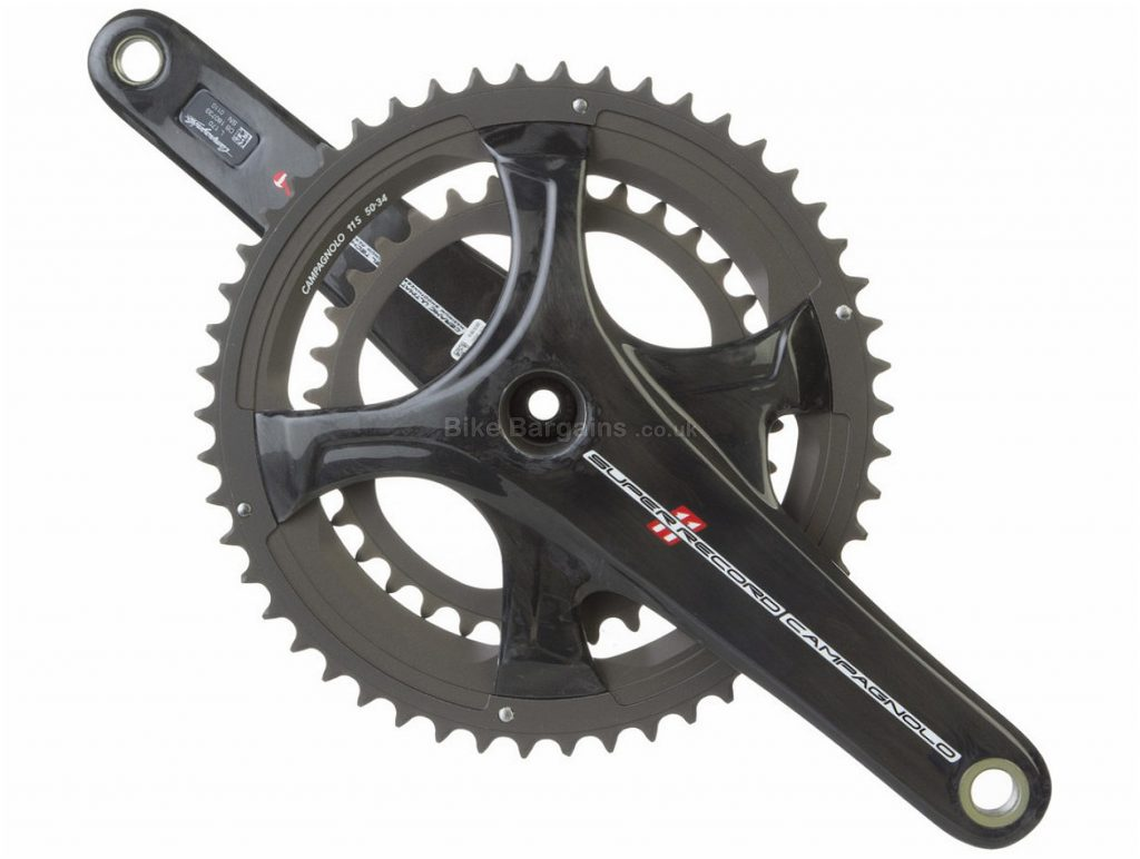 Campagnolo Super Record Ultra Torque 11 Speed Ti Carbon Chainset 175mm, Black, 11 Speed, Double Chainring, 11 Speed, Titanium, Carbon