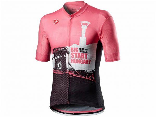Castelli Giro Hungary Big Start Short Sleeve Jersey 2020 XXL, Pink, Brown, Men's, Short Sleeve, weighs 150g, Polyester, Elastane