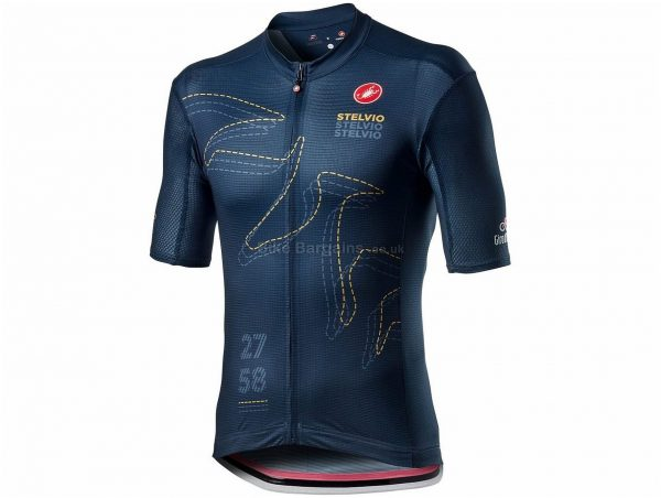Castelli Giro Stelvio Short Sleeve Jersey 2020 M, Blue, Men's, Short Sleeve, weighs 150g, Polyester, Elastane