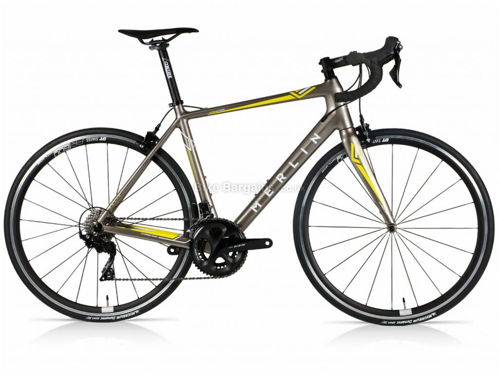 Merlin Cordite 105 DT Carbon Road Bike 52cm, Grey, Yellow, 700c wheels, Caliper Brakes, Double Chainring, 22 Speed, Carbon