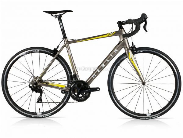Merlin Cordite 105 DT Carbon Road Bike 52cm, Grey, Yellow, 700c wheels, Caliper Brakes, Double Chainring, 22 Speed, Carbon