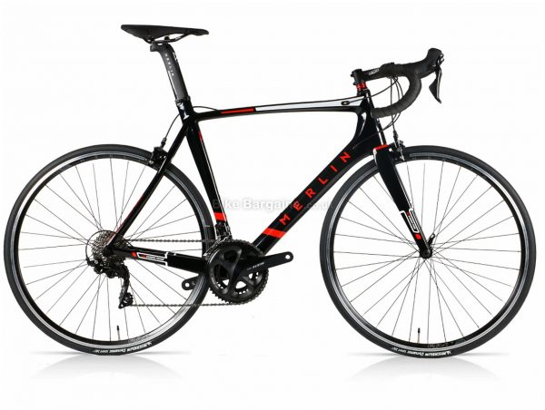 Merlin Nitro Aero 105 Carbon Road Bike 2020 56cm, Black, Red, 22 Speed, 700c wheels, Caliper Brakes, Double Chainring, Carbon