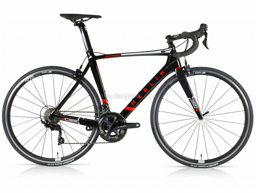 Merlin Nitro Aero 105 DT Carbon Road Bike 56cm, Black, Red, Carbon Frame, 22 Speed, 700c wheels, Double Chainring, Caliper Brakes