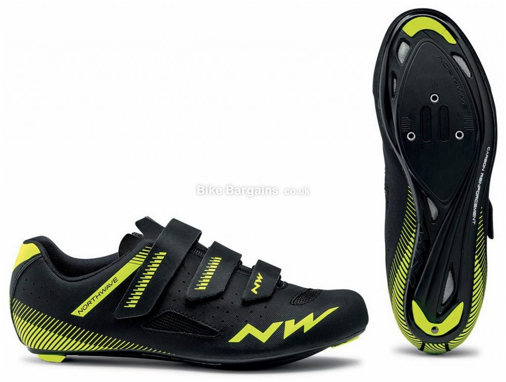 Northwave Core Road Shoes 2020 43,44,45,46,47,48, Black, Yellow, White, Men's, Velcro Fastening, 558g, Carbon, Velcro