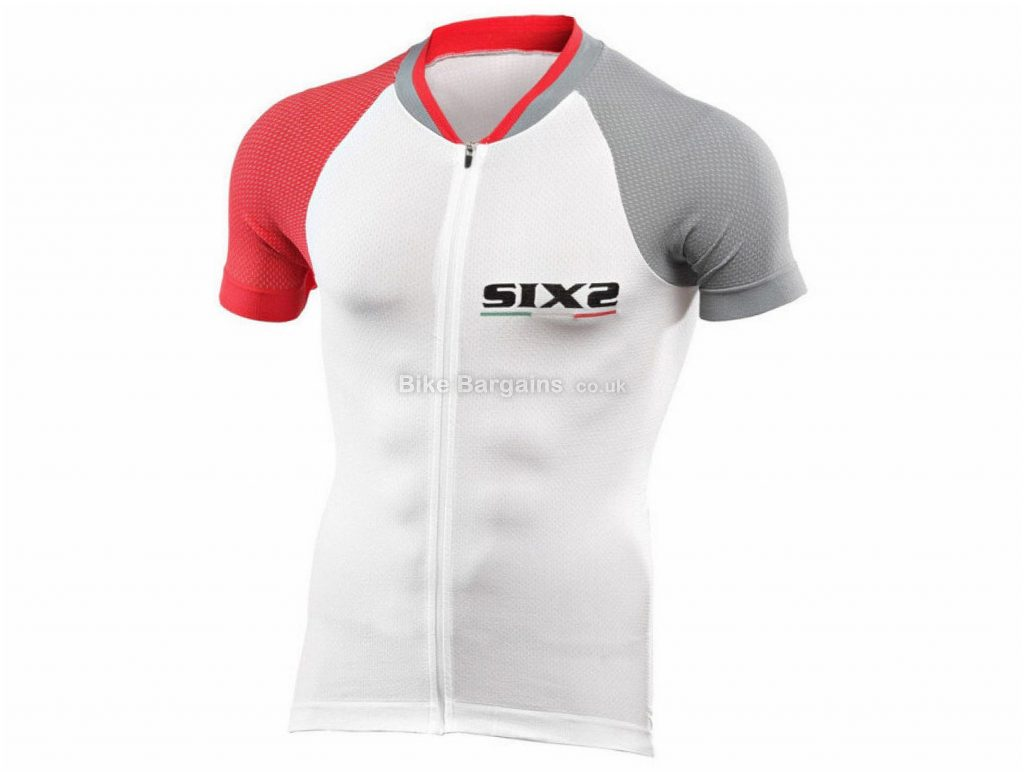 SIX2 Bike 3 Ultra Light Short Sleeve Jersey XL, White, Grey, Red, Short Sleeve, Polyester, Elastane