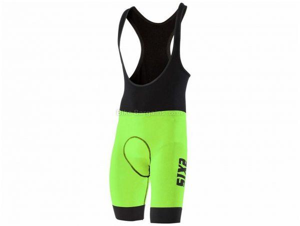 SIX2 SLP Luxury Bib Shorts L, Black, Green, Red, Orange, Yellow, Tight, Polyester, Elastane