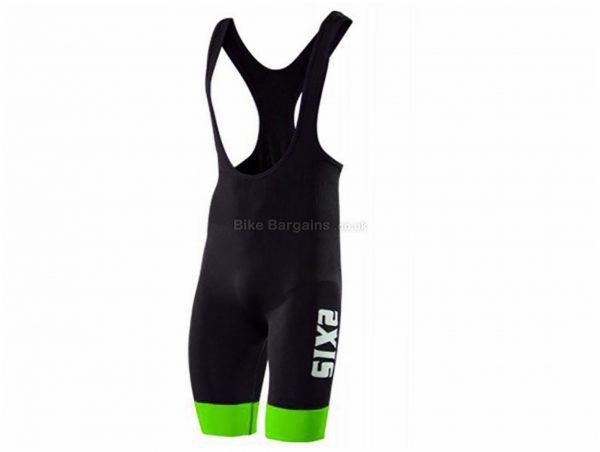 SIX2 SLP Stripes Bib Shorts L, Black, Orange, Tight, Polyester, Elastane