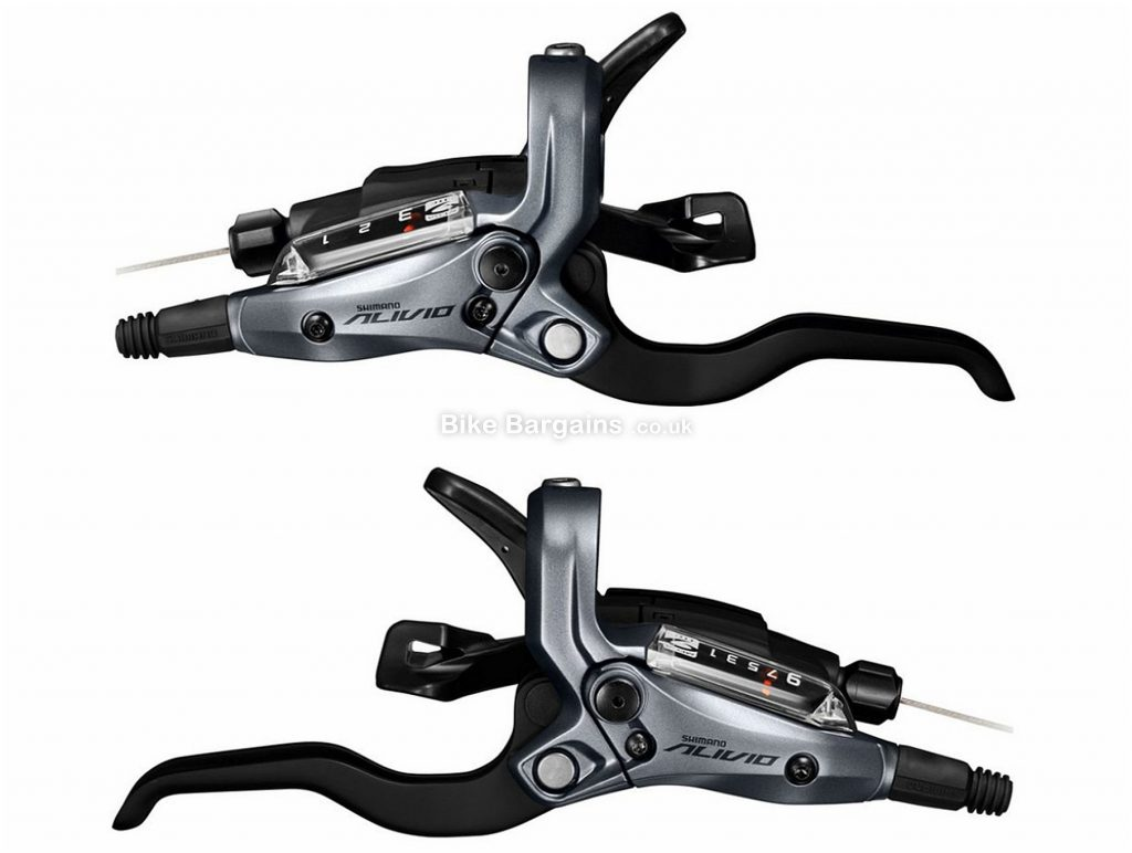 Shimano ST-M4050 Alivio 9 Speed Hydraulic Disc Shifters Brake Levers Grey, Front & Rear, Disc, 9 Speed, Alloy