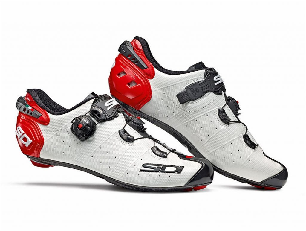 Sidi Wire 2 Carbon Road Shoes 41, White, Black, Red, Men's, Boa & Buckle Fastening, Carbon