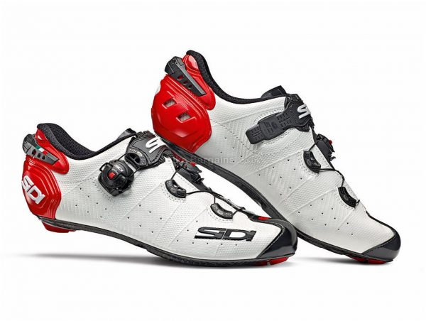Sidi Wire 2 Carbon Road Shoes 48, White, Black, Red, Men's, Boa & Buckle Fastening, Carbon