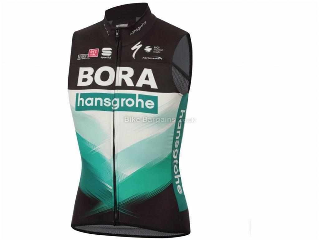 Sportful Bora Hansgrohe Bodyfit Pro Wind Light Gilet M, Black, Green, Men's, Sleeveless, Polyester, Elastane