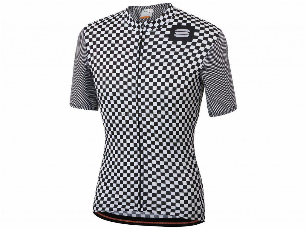 Sportful Checkmate Short Sleeve Jersey XXXL, White, Black, Men's, Short Sleeve, Polyester, Elastane