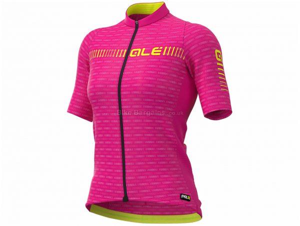 Ale Ladies Graphics PRR Green Road Short Sleeve Jersey XXL, Blue, Pink, Yellow, Ladies, Short Sleeve, Polyester, Elastane