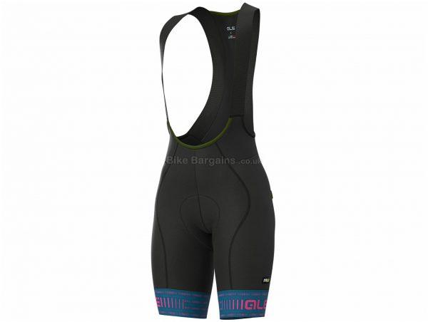 Ale Ladies PRR Green Bib Shorts XL, Black, Blue, Ladies, Polyamide, Elastane