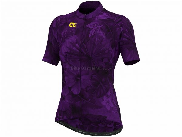 Ale Ladies Prime Floral Limited Edition Short Sleeve Jersey S, Black, Purple, Ladies, Short Sleeve, Polyester