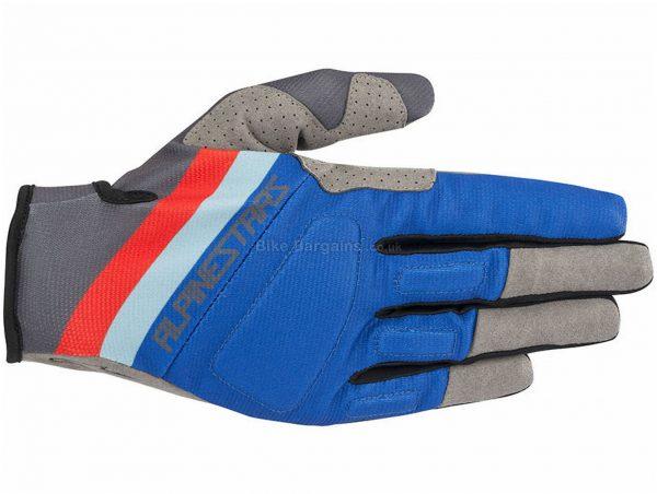 Alpinestars Aspen Pro Gloves S, Blue, White, Red, Grey, Black, Men's, Full Finger, Polyester, Polyamide, Polyurethane, Elastane