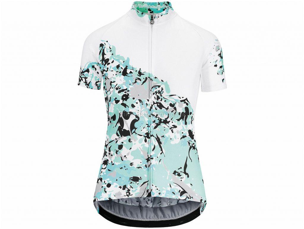 Assos Ladies Wild Short Sleeve Jersey XL, White, Turquoise, Black, Ladies, Short Sleeve, Polyester, Polyamide, Elastane