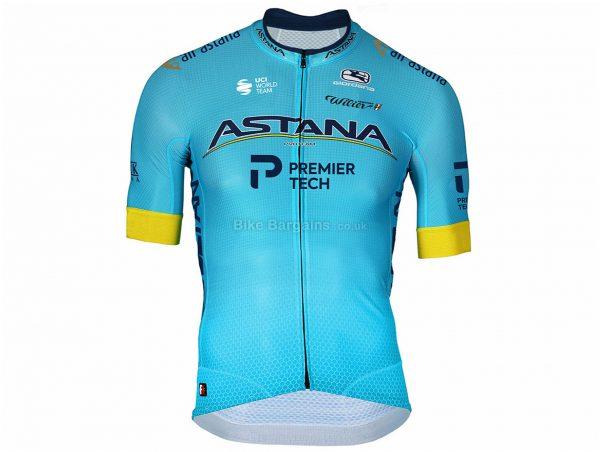 Astana Pro Team Official Short Sleeve Jersey 2020 L, Blue, Short Sleeve, Polyester, Elastane