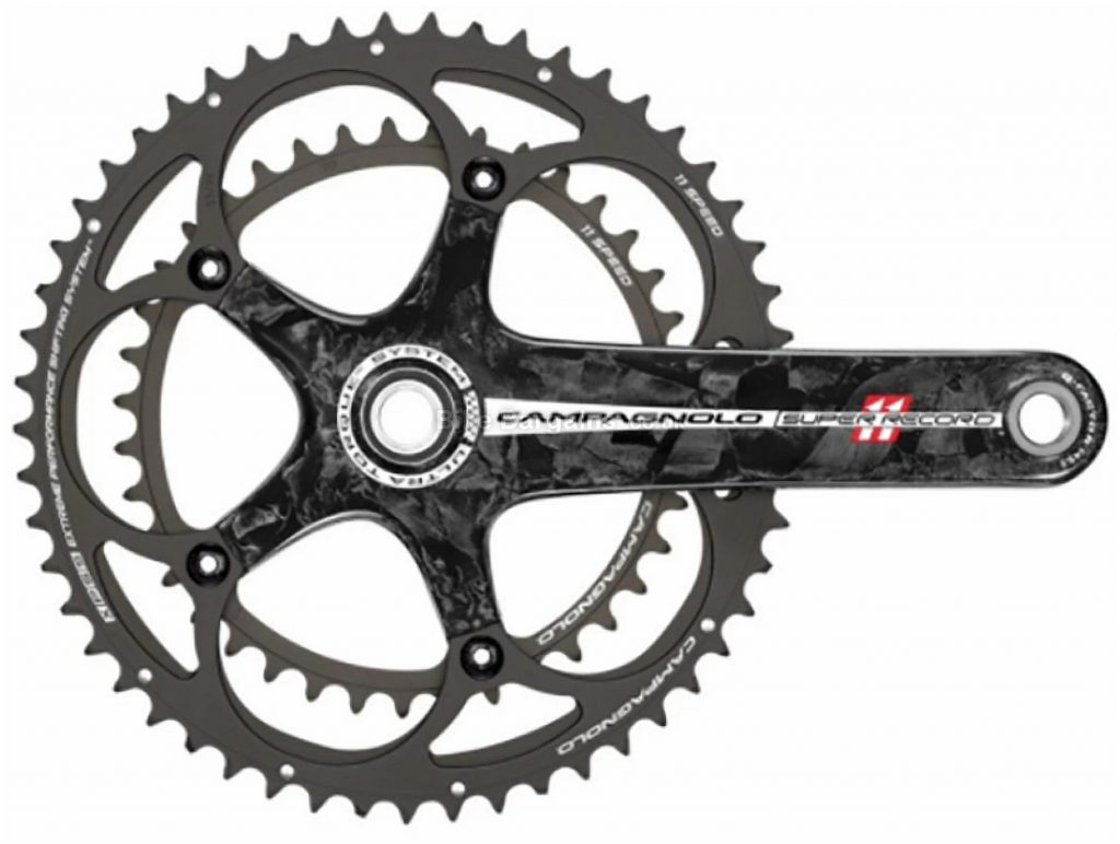 Campagnolo Super Record TI Ultra-Torque 11 Speed TT Chainset 172.5mm, 11 Speed, Black, Double Chainring, Carbon
