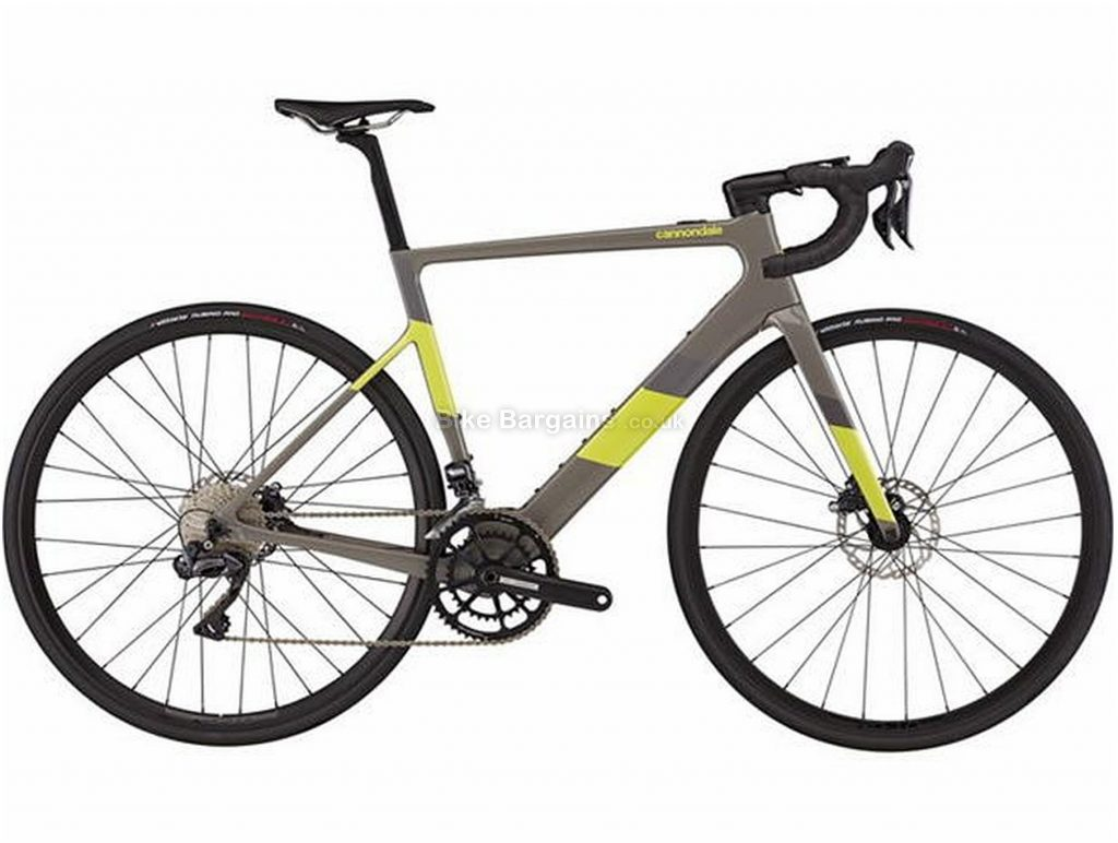 Cannondale Supersix EVO Neo 2 Ui2 Carbon Electric Road Bike 2021 L, Grey, Yellow, Carbon Frame, 700c Wheels, Disc Brakes, Double Chainring, Men's, 22 Speed