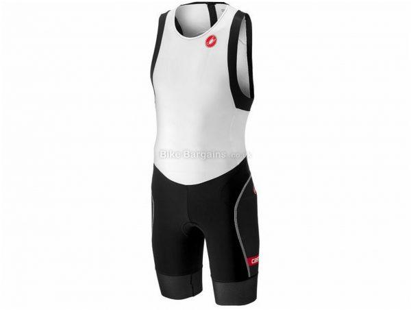 Castelli Free Tri ITU Sleeveless Tri Suit S,M,L,XL,XXL,XXXL, Black, White, Men's, Sleeveless, 161g, Polyester, Elastane