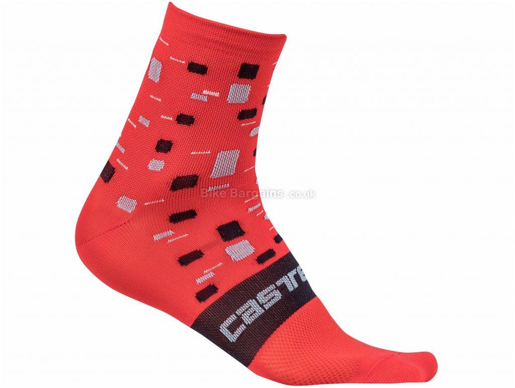 Castelli Ladies Climber's Socks S,M,L,XL, Red, Black, Ladies, Polyamide, Elastane