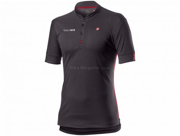Castelli Team INEOS Tech Polo Shirt XL, Grey, Men's, Short Sleeve, Polyester