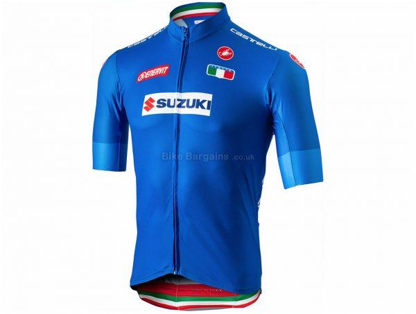 Castelli Team Italia Squadra Short Sleeve Jersey XL,XXXL, Blue, Men's, Short Sleeve, 167g, Polyester, Elastane