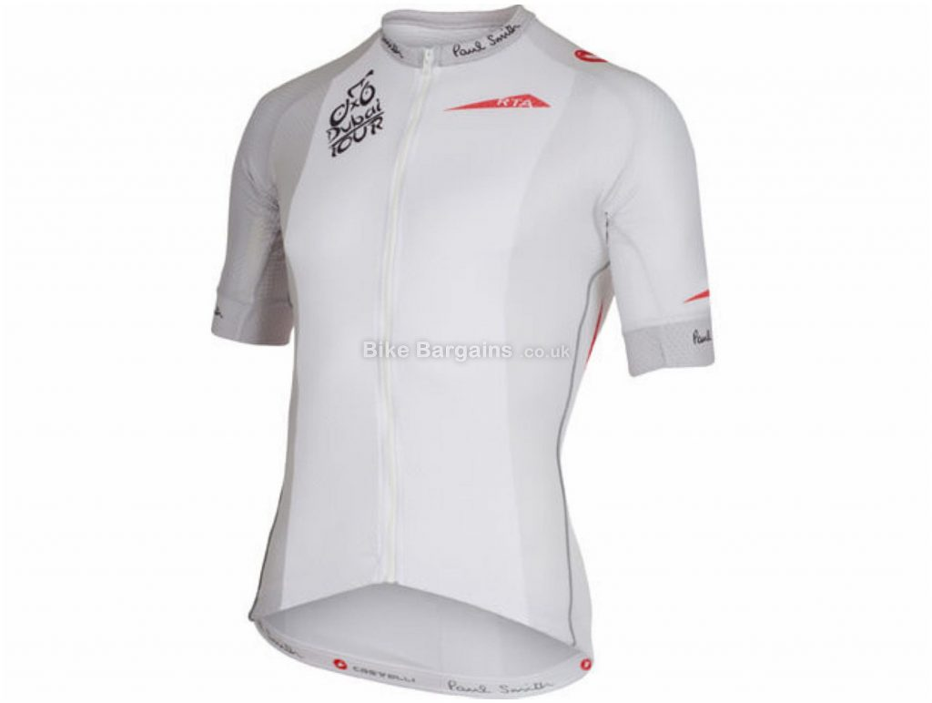 Castelli Tour of Dubai Volo Short Sleeve Jersey XL, White, Men's, Short Sleeve, Polyester